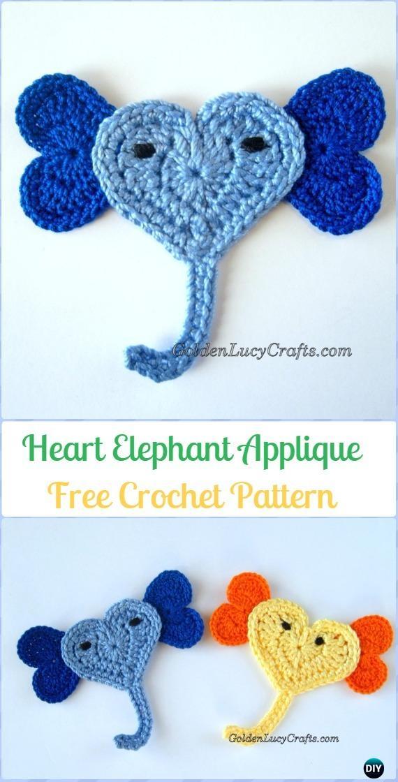 PATTERN Elephant Applique Crochet Pattern PDF Jungle Animal | Etsy | 1120x570