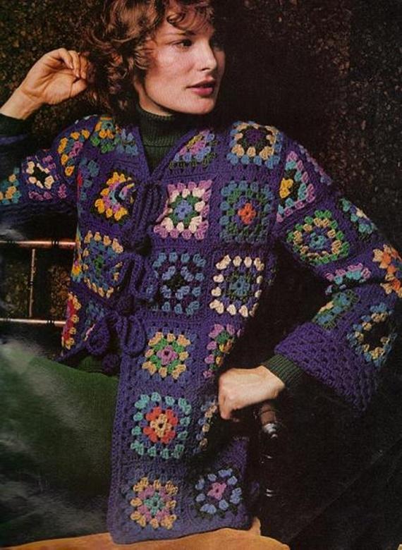 Crochet Blue Granny Square Jacket Free Pattern - Crochet Granny Square Jacket Coat Free Patterns