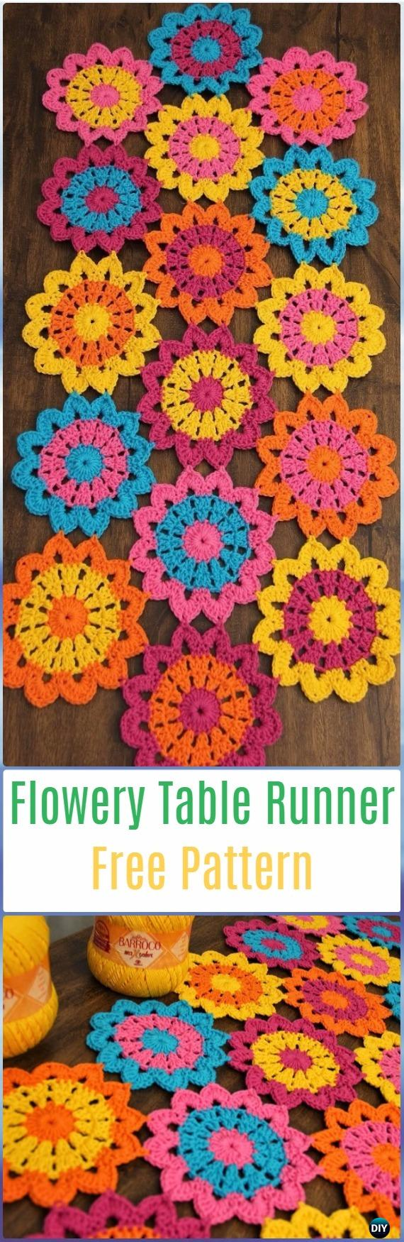Crochet Flowery Table Runner Free Pattern- Crochet Table Runner Free Patterns