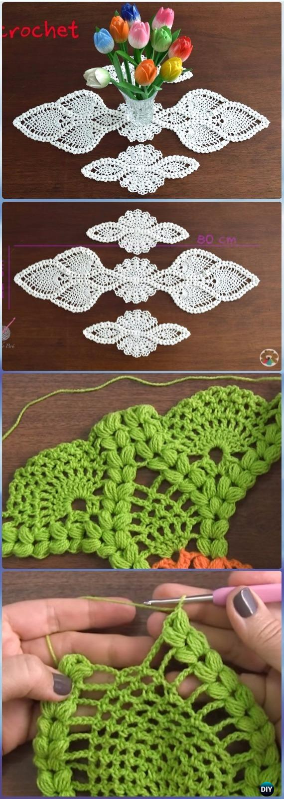 Crochet Puff Pineapple Table Runner Free Pattern Video - Crochet Table Runner Free Patterns