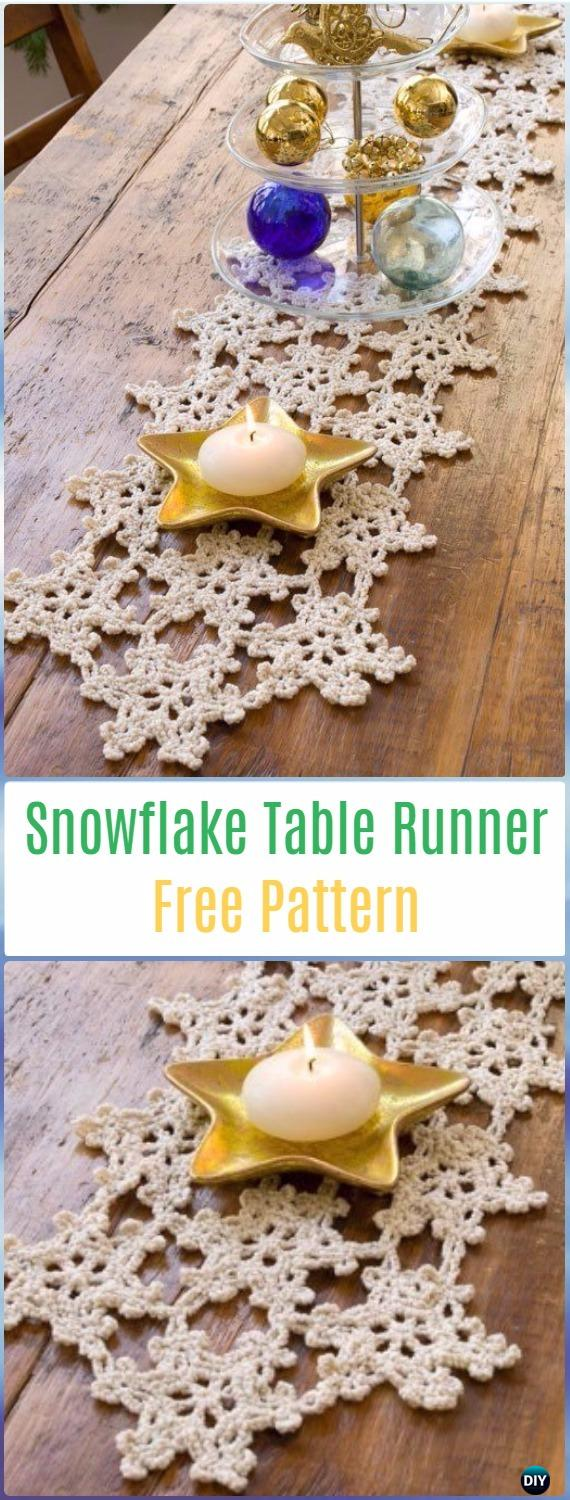 Crochet Snowflake Table Runner Free Pattern- Crochet Table Runner Free Patterns