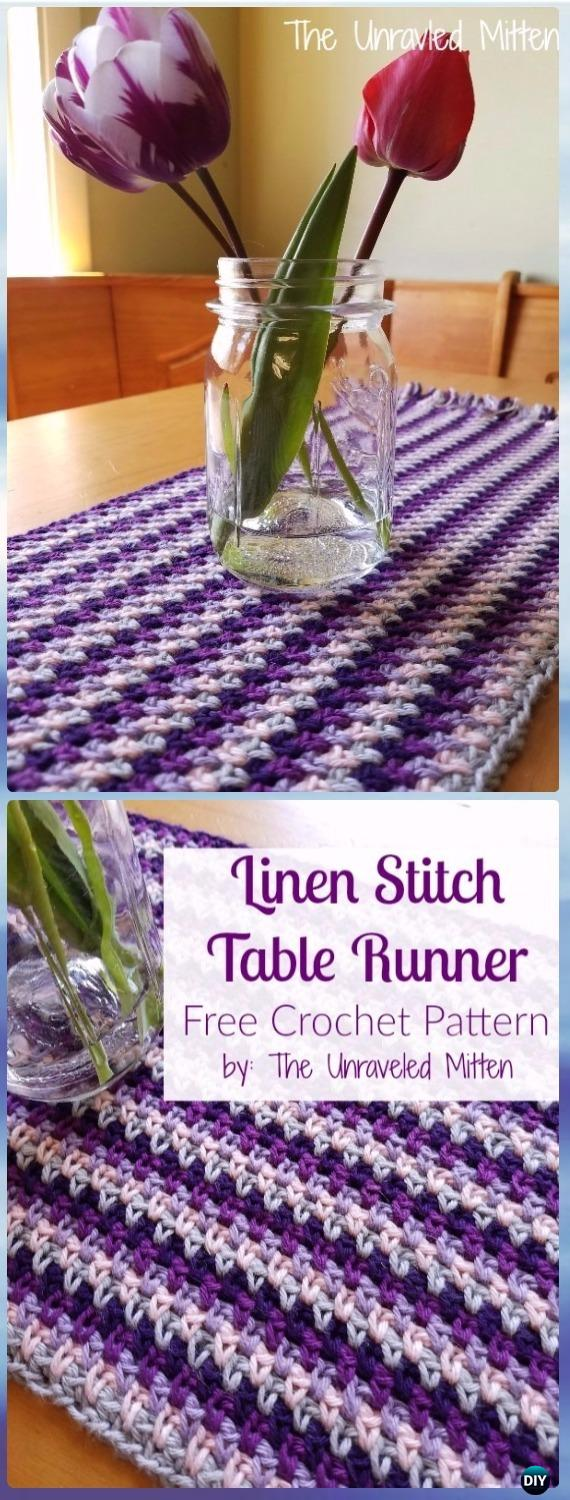 Crochet Linen Stitch Crochet Table Runner Free Pattern- Crochet Table Runner Free Patterns