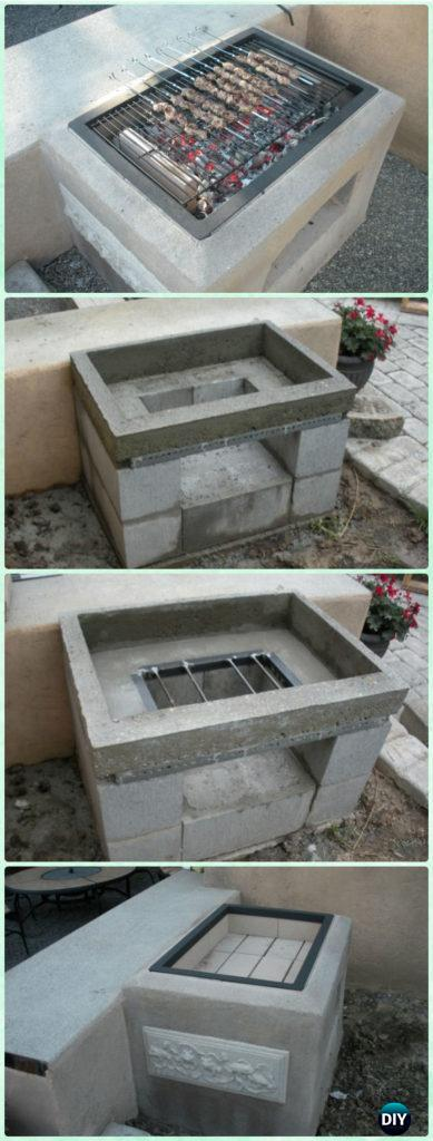Diy Open Concrete Grill Instruction Backyard Projects