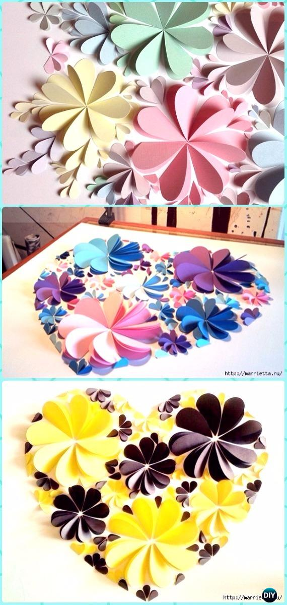 DIY 3D Heart Paper Flower Canvas Art Instruction - DIY Canvas Wall Art Ideas Tutorials