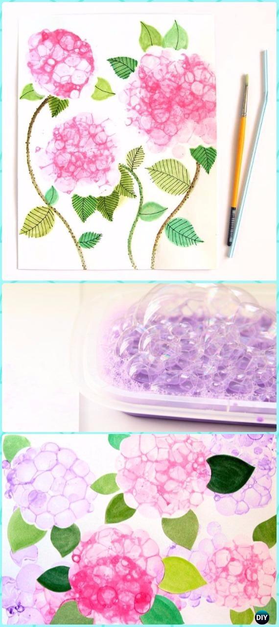 DIY Bubble Paint Hydrangeas Flower Canvas Art Instruction - DIY Canvas Wall Art Ideas Tutorials