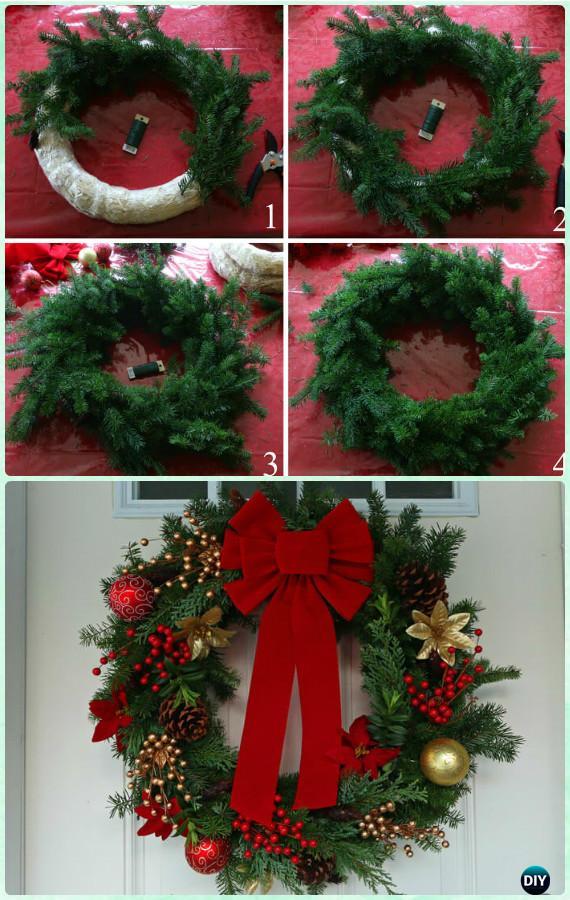 Diy Homemade Evergreen Wreath Instructions Christmas Craft Ideas Holiday Decoration