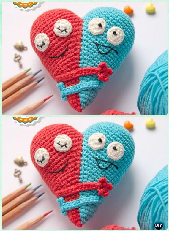 Amigurumi Crochet 3D Heart Free Patterns Perfect Valentine Gift Ideas | 778x569