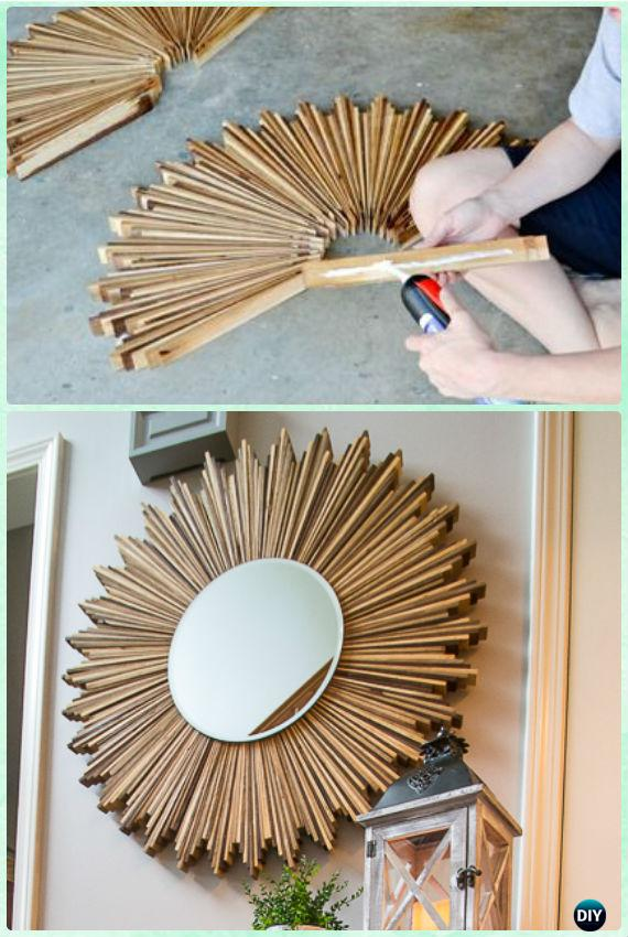 Diy Stained Wood Shim Starburst Mirror Instruction Decorative Frame Ideas And Projects