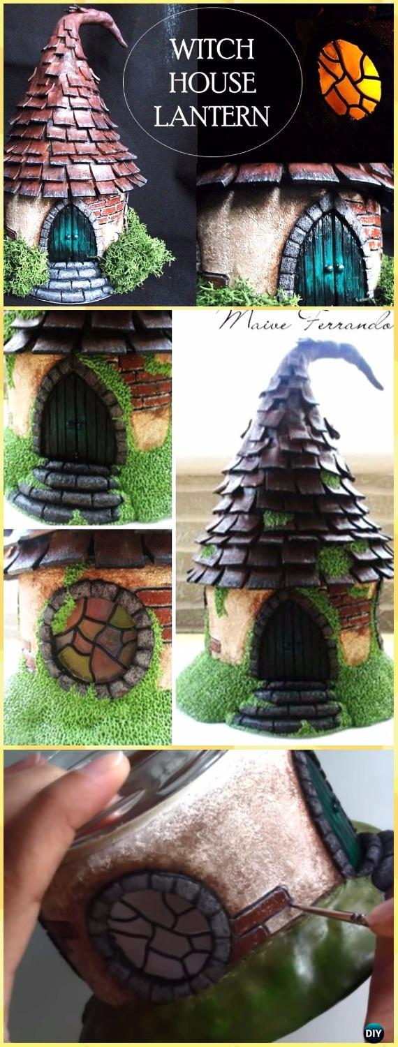 DIY Polymer Clay Mason Jar Witch House Lantern Tutorial Vdieo - DIY Fairy Light Projects & Instructions
