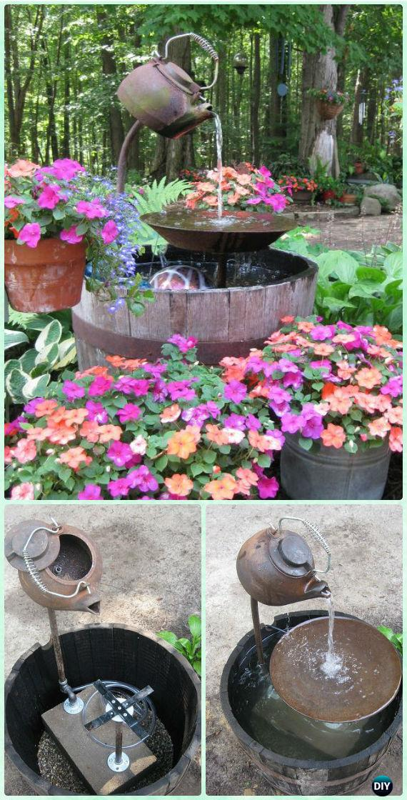 DIY Tea Pot Fountain Instruction - DIY Fountain Landscaping Ideas & Projects