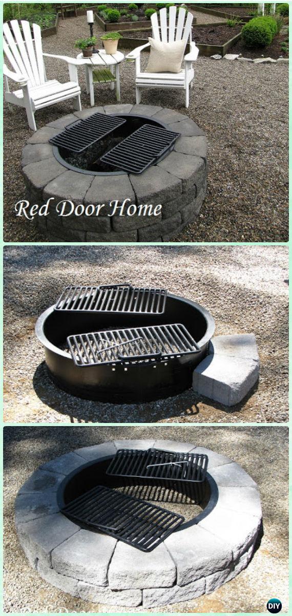 DIY Quick Block Firepit Instruction - DIY Garden Firepit Patio Projects [Free Plans]