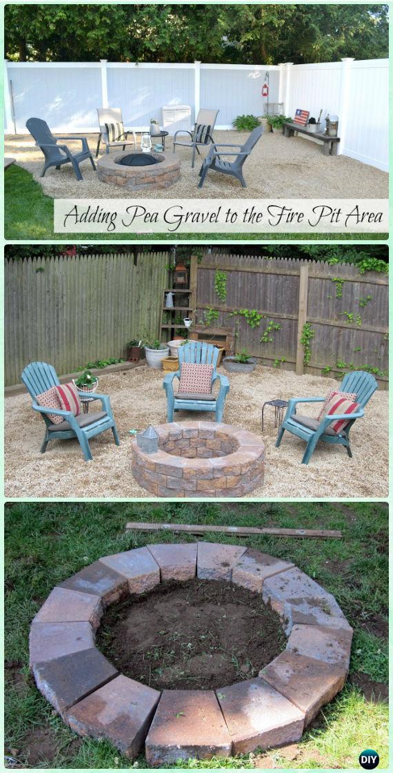 DIY Pea Gravel Firepit Patio Instruction - DIY Garden Firepit Patio Projects [Free Plans]