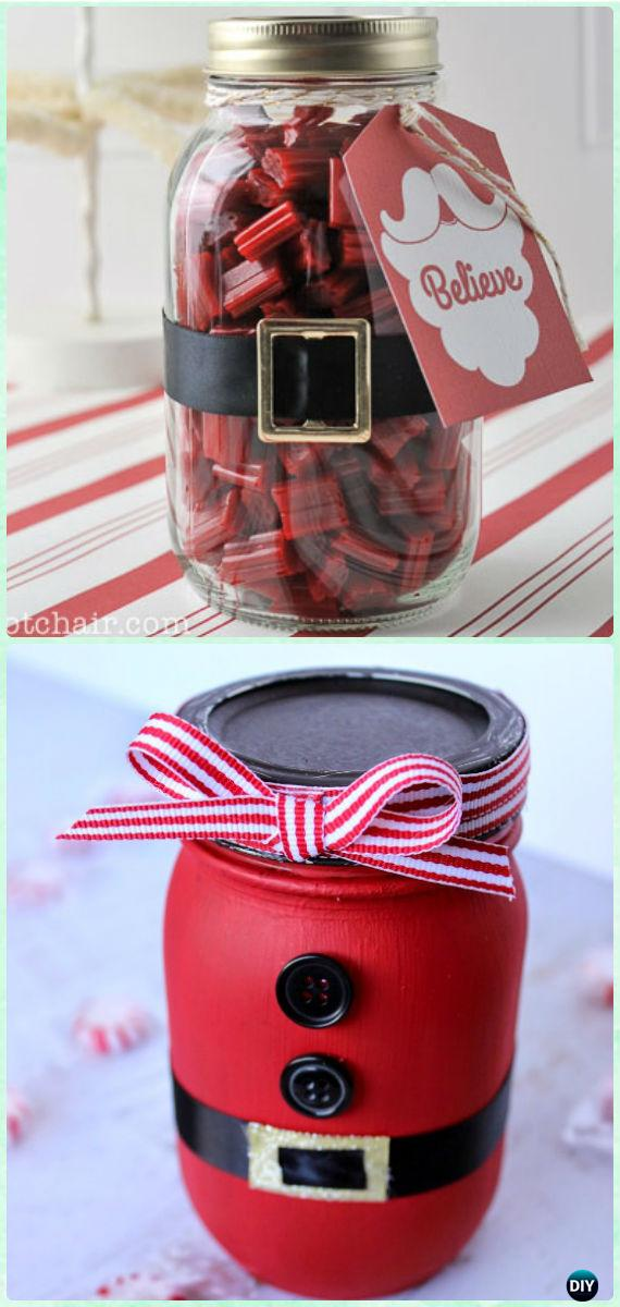 Diy Santa Mason Jar Gifts Instructions Diy Mason Jar Christmas Gift Wrapping Ideas Diy How To