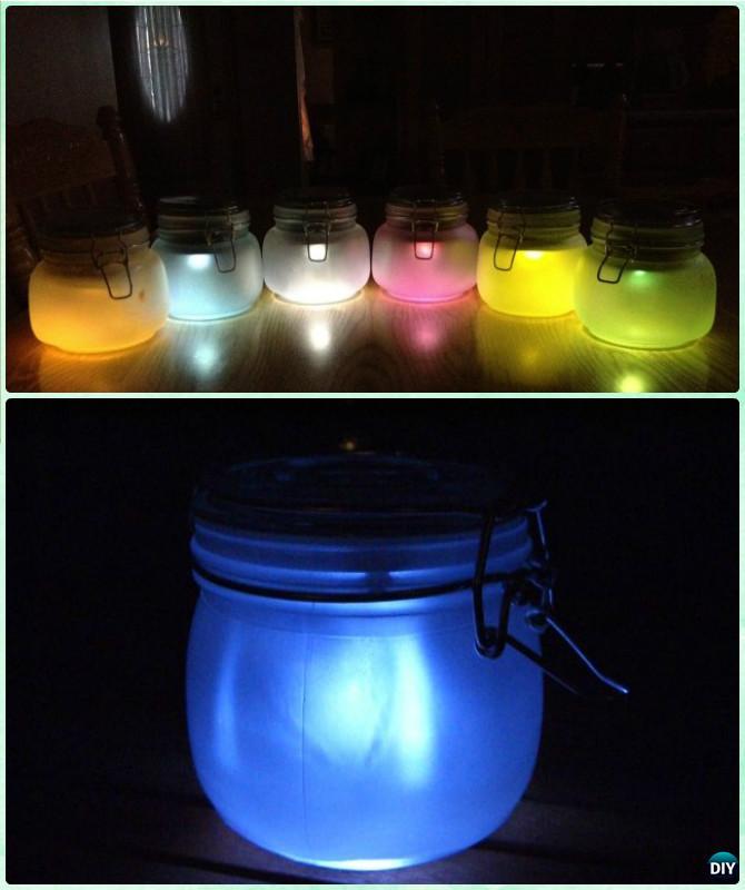 DIY Colored Mason Jar Solar Lantern Light Tutorial- DIY Solar Inspired Solar Light Lighting Ideas