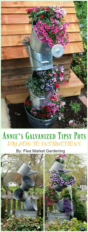 Annie's Galvanized Tipsy Pots DIY Instruction - DIY Tipsy #Vertical Pot Planter DIY Projects & Instructions #Gardening