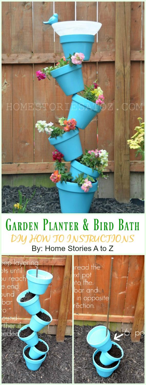 Flower Pot Garden Planter and Bird Bath DIY Instruction - DIY Tipsy #Vertical Pot Planter DIY Projects & Instructions #Gardening
