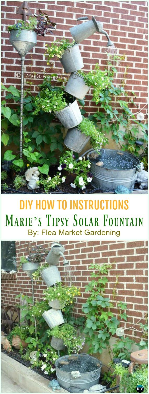 Marie's Tipsy Solar Fountain DIY Instruction - DIY Tipsy #Vertical Pot Planter DIY Projects & Instructions #Gardening