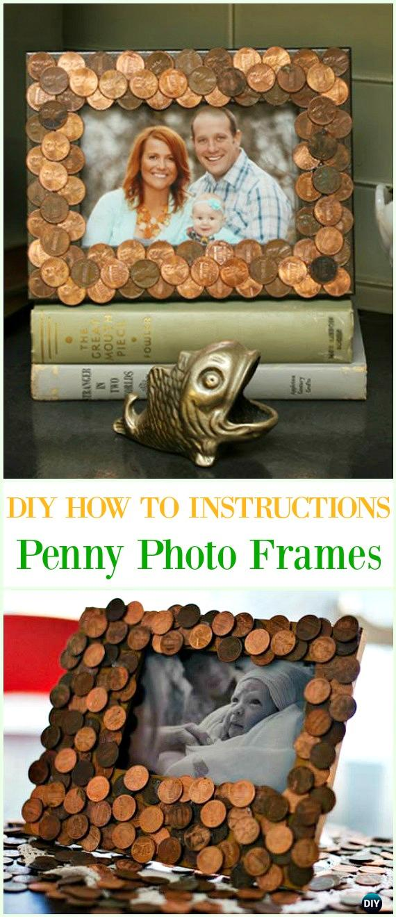 DIY Penny Photo Frames Tutorial - Cool DIY Ways to Decorate Home & Garden with Pennies #Recycle; #Penny; #HomeDecor