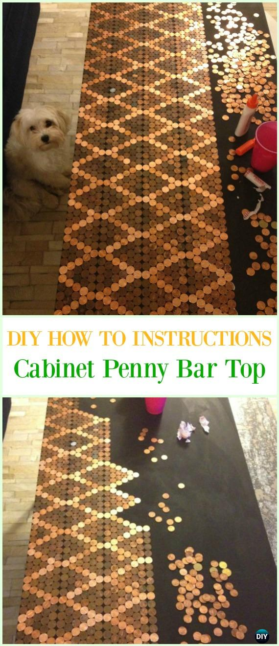 DIY Cabinet Penny Bar Top Tutorial - Cool DIY Ways to Decorate Home & Garden with Pennies #Recycle; #Penny; #HomeDecor