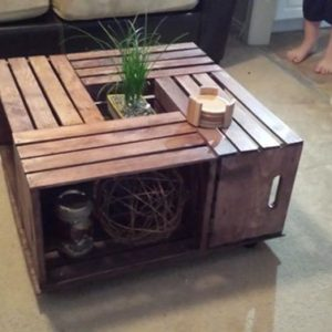 DIY Wine Fruit Wood Crate Coffee Table Free Plan