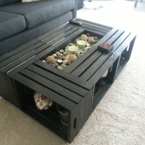 DIY Wine Fruit Wood Crate Coffee Table Free Plan - 6 wood crates