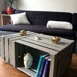 DIY Wine Fruit Wood Crate Coffee Table Free Plan - 3 wood crates