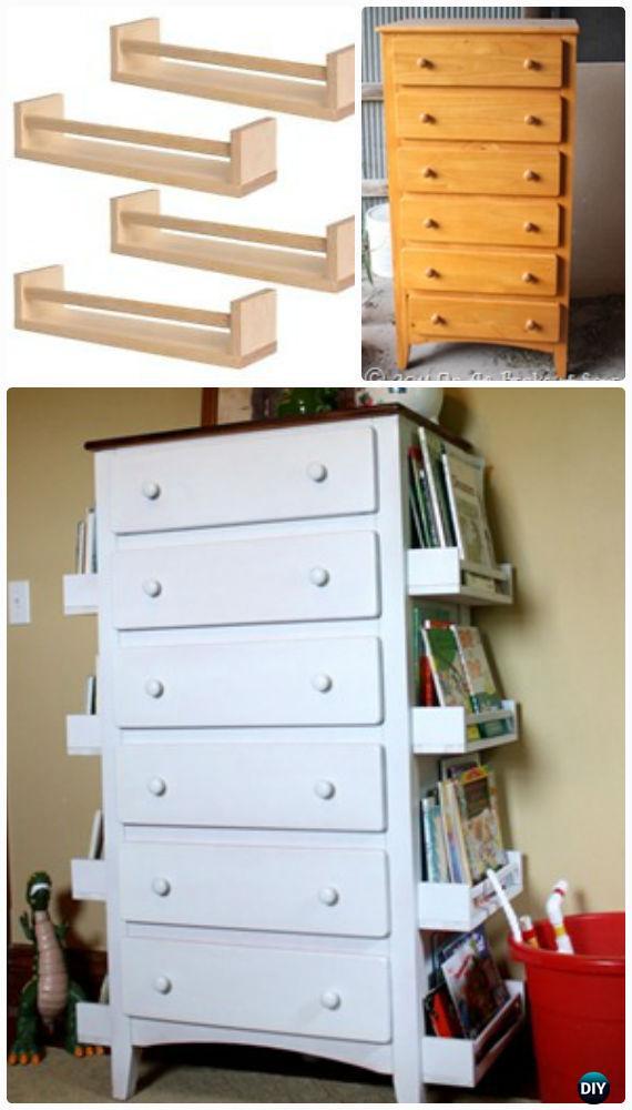 Diy E Rack Bookshelf Dresser Makeover Instructions Back To School Kids Furniture