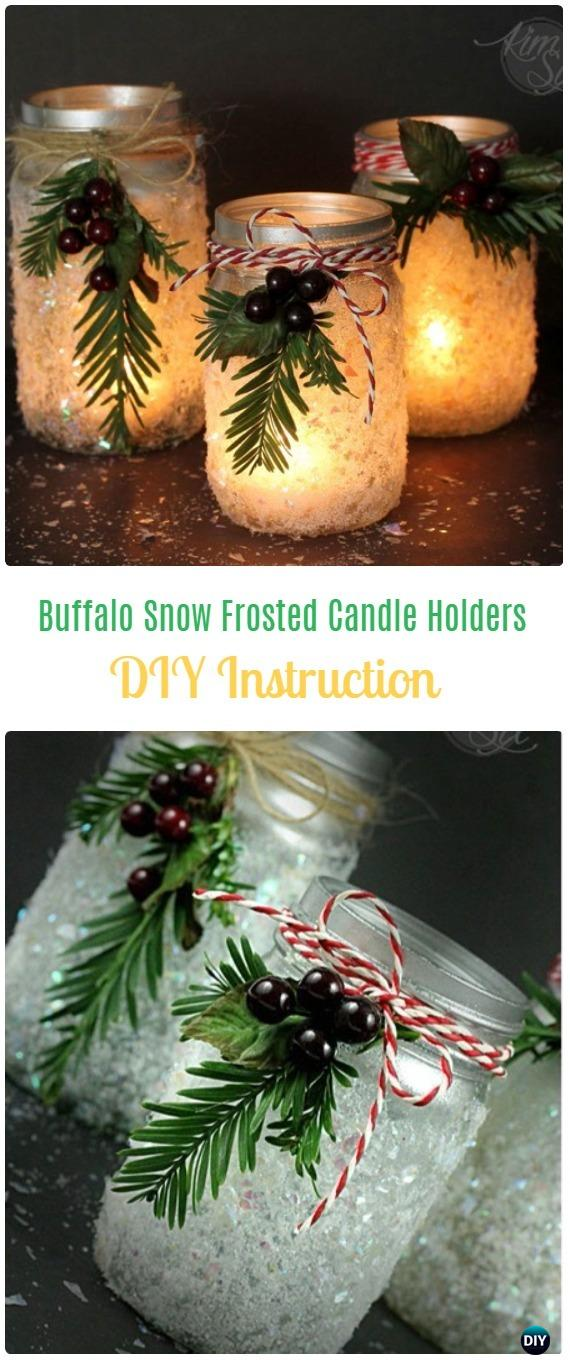 DIY Buffalo Snow Frosted Candle Holders Tutorial - Frosted Mason Jar Glass Container Craft Projects DIY Instructions