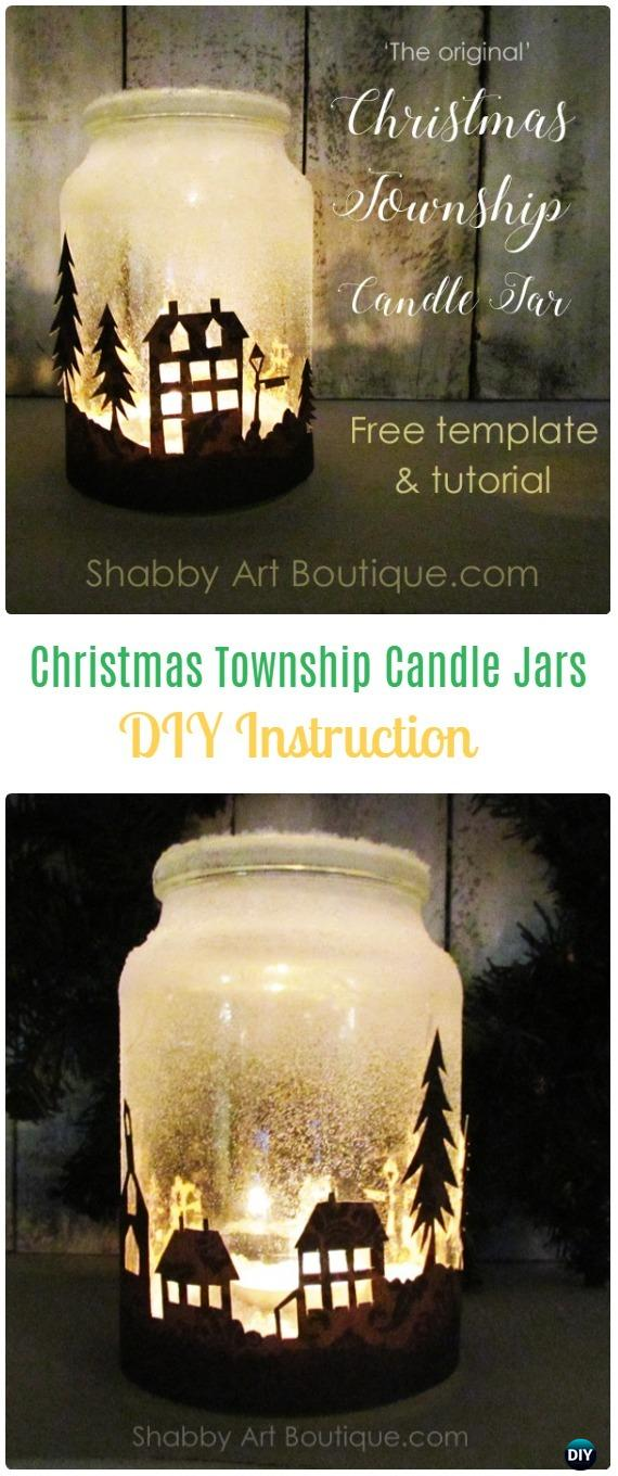 DIY Christmas Township Candle Jars Tutorial - Frosted Mason Jar Glass Container Craft Projects DIY Instructions