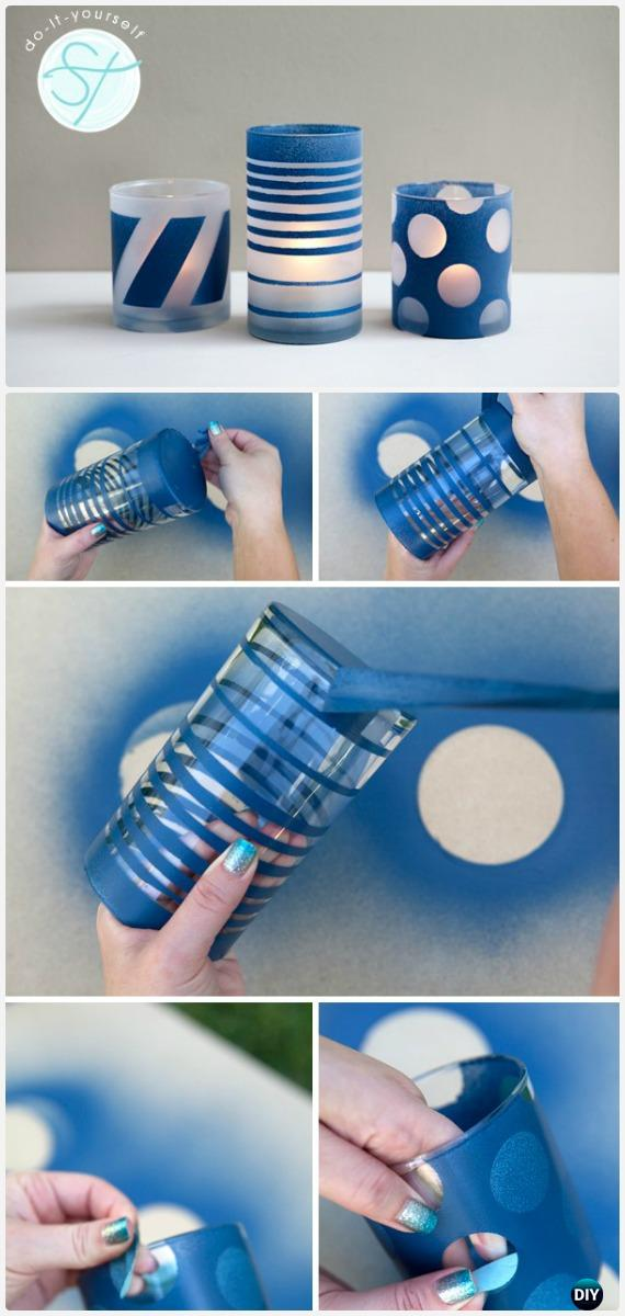 DIY Spray Paint Frosted Glass Jars Tutorial - Frosted Mason Jar Glass Container Craft Projects DIY Instructions