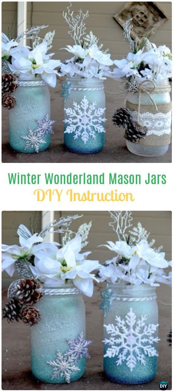 DIY Winter Wonderland Mason Jars Tutorial - Frosted Mason Jar Glass Container Craft Projects DIY Instructions
