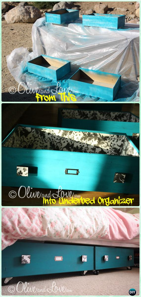 DIY Old Drawer Under The Bed Sliding Storage Instruction - Instructions - Practical Ways to Recycle Old Drawers for Home