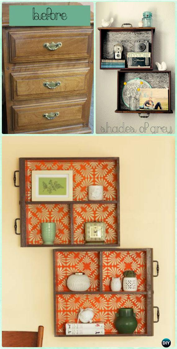 DIY Old Drawer Shelf Instruction - Instructions - Practical Ways to Recycle Old Drawers for Home