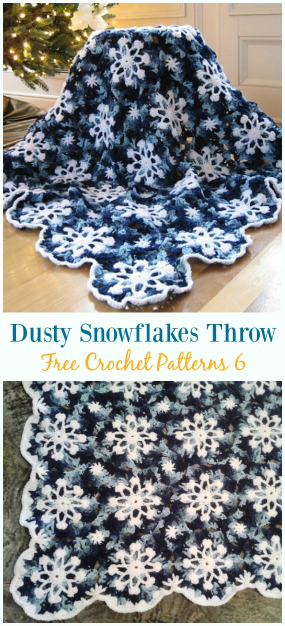 Dusty Snowflakes Throw Crochet Free Pattern - #Snowflake; Afghan #Blanket; #Crochet gratuit; Motifs