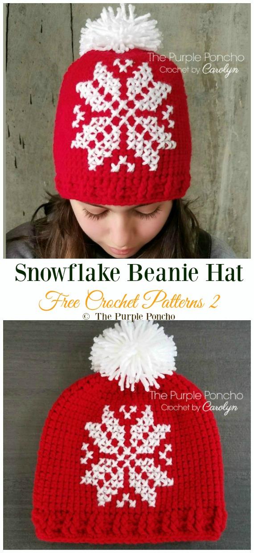 Chapeau Bonnet Flocon de neige Crochet Free Pattern - Winter #Snowflake; #Chapeau; #Crochet gratuit; Motifs