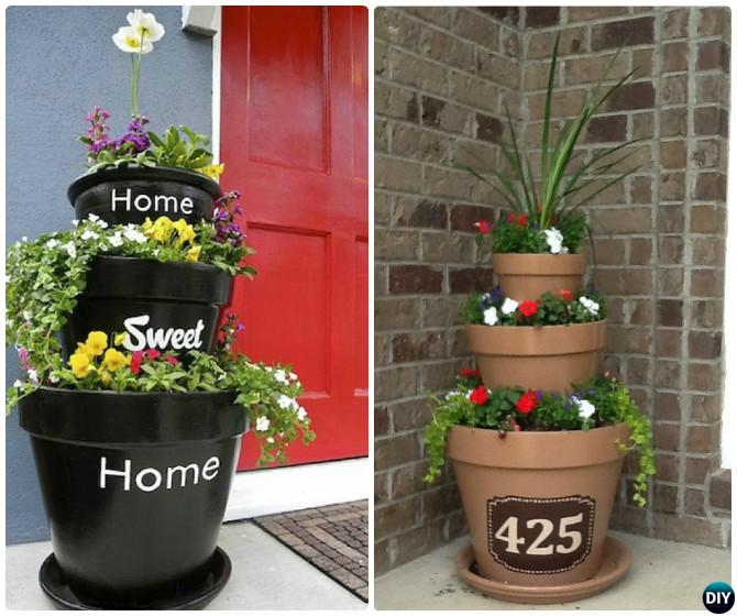 Front Porch Flower Tower Planter 20 Diy Decorating Ideas Projects