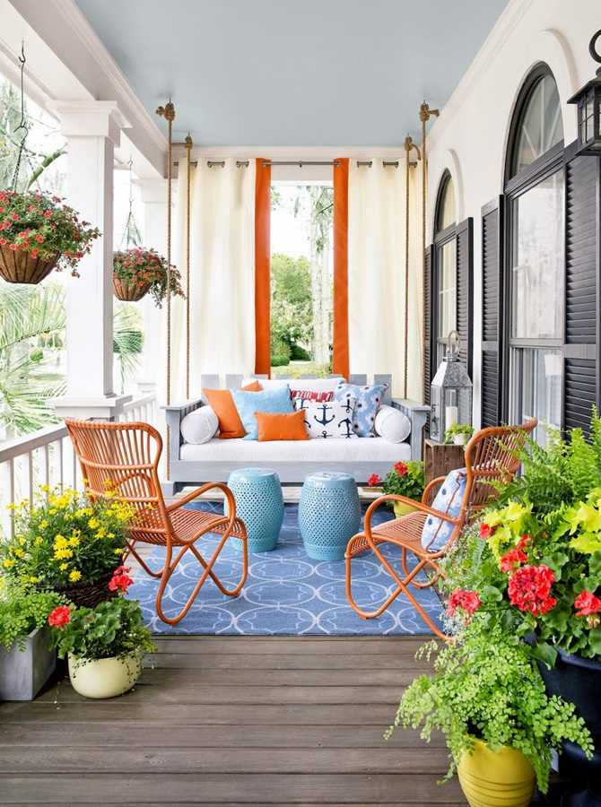 Front Porch Swing Lounge-20 DIY Porch Decorating Ideas Projects