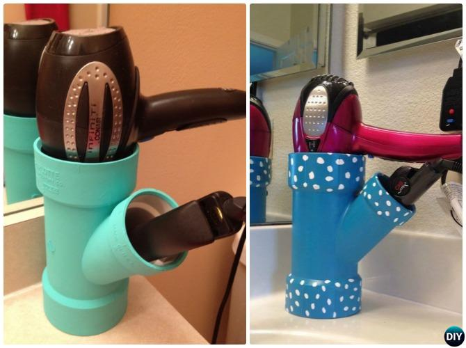 PVC Pipe Hair Dryer Caddy-20 PVC Home Organization and Storage Projects