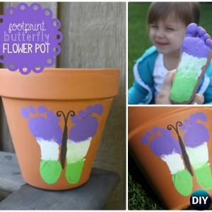 Terracotta Clay Pot Footprint Butterfly DIY Clay Pot Garden Craft Projects