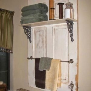 Turn Old Door Into Bathroom Towel Shelf