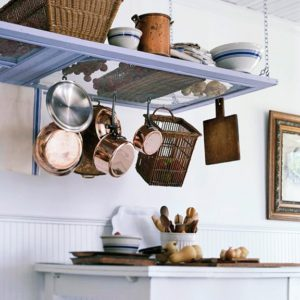 Turn Old Door Into Hanging Pot Rack DIYHowto